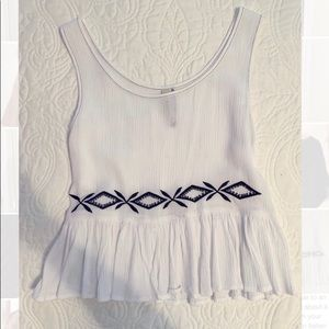 White tank with navy detail